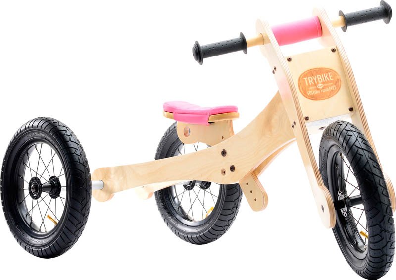 Wooden 4-in-1 Trybike - Pink Trim