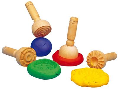 Wooden 4 Dough Stampers
