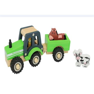 Wooden Farm Tractor Toy Green