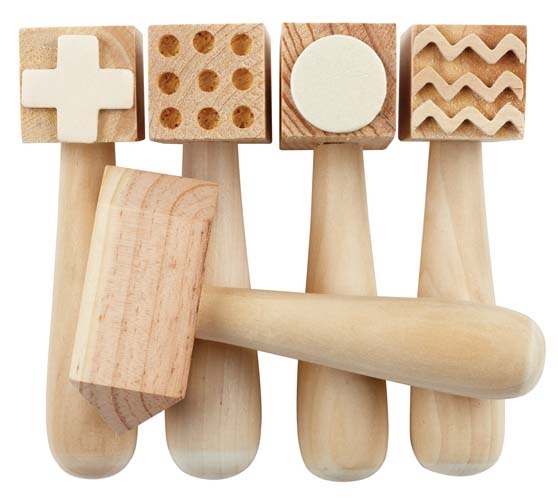 Wooden Pattern Hammers - Pack of 5