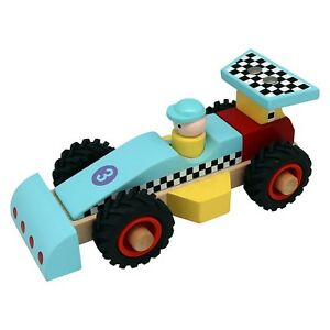 Wooden Racing Car Toy Blue