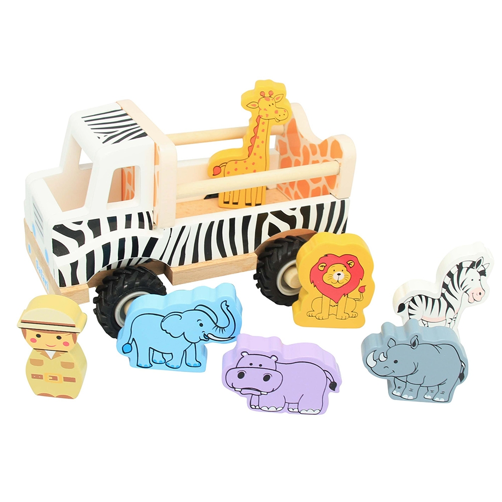 Wooden Safari Truck with Animals Toy
