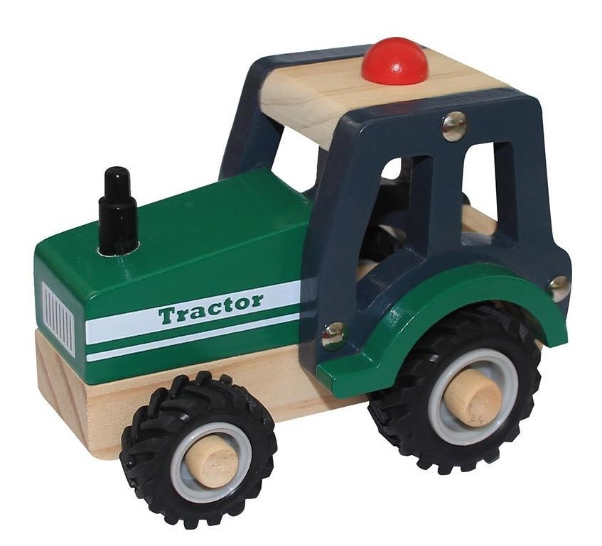 Wooden Tractor Toy Green