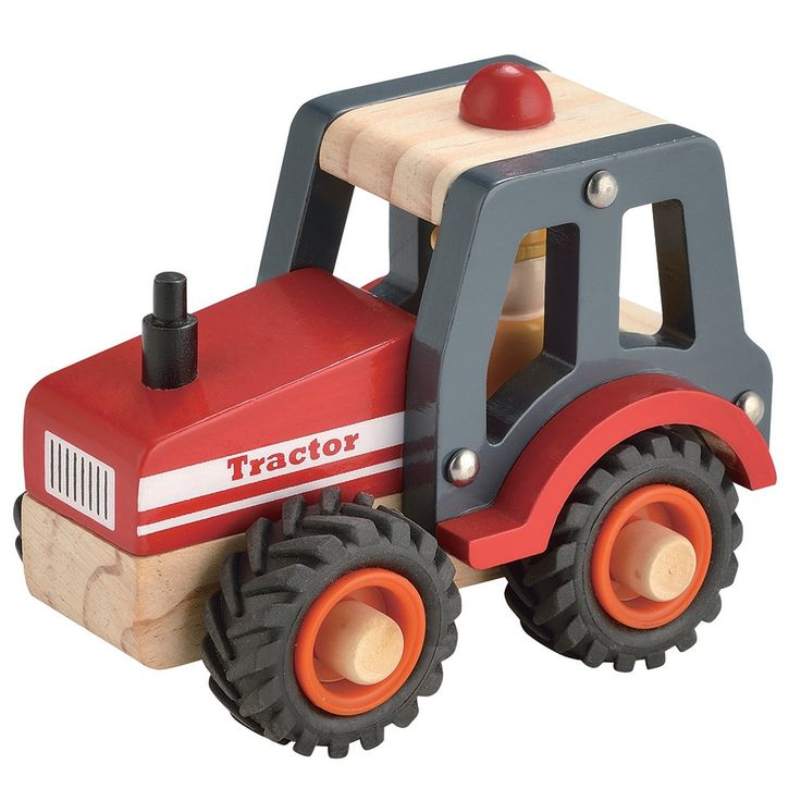 Wooden Tractor Toy Red
