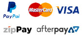 We accept paypal, visa, mastercard, Afterpay and zipPay payment methods